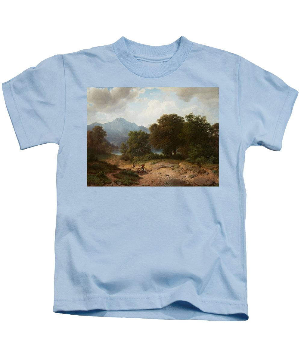 Wilhelm Bode Kids T-Shirt featuring the painting Mountainous Landscape With Shepherds by Wilhelm Bode