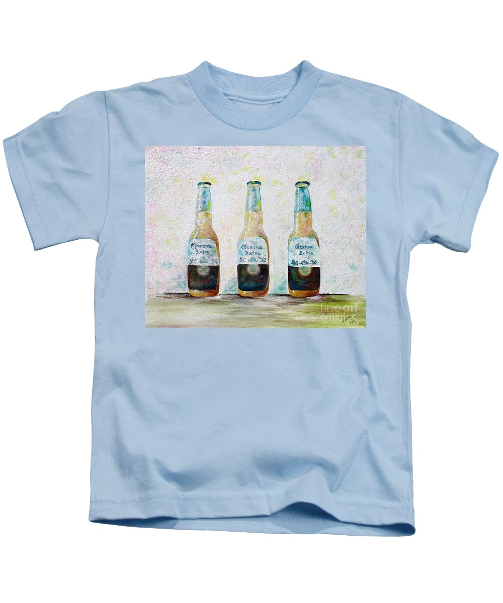 Beer Kids T-Shirt featuring the painting Three Amigos by Barbara Teller