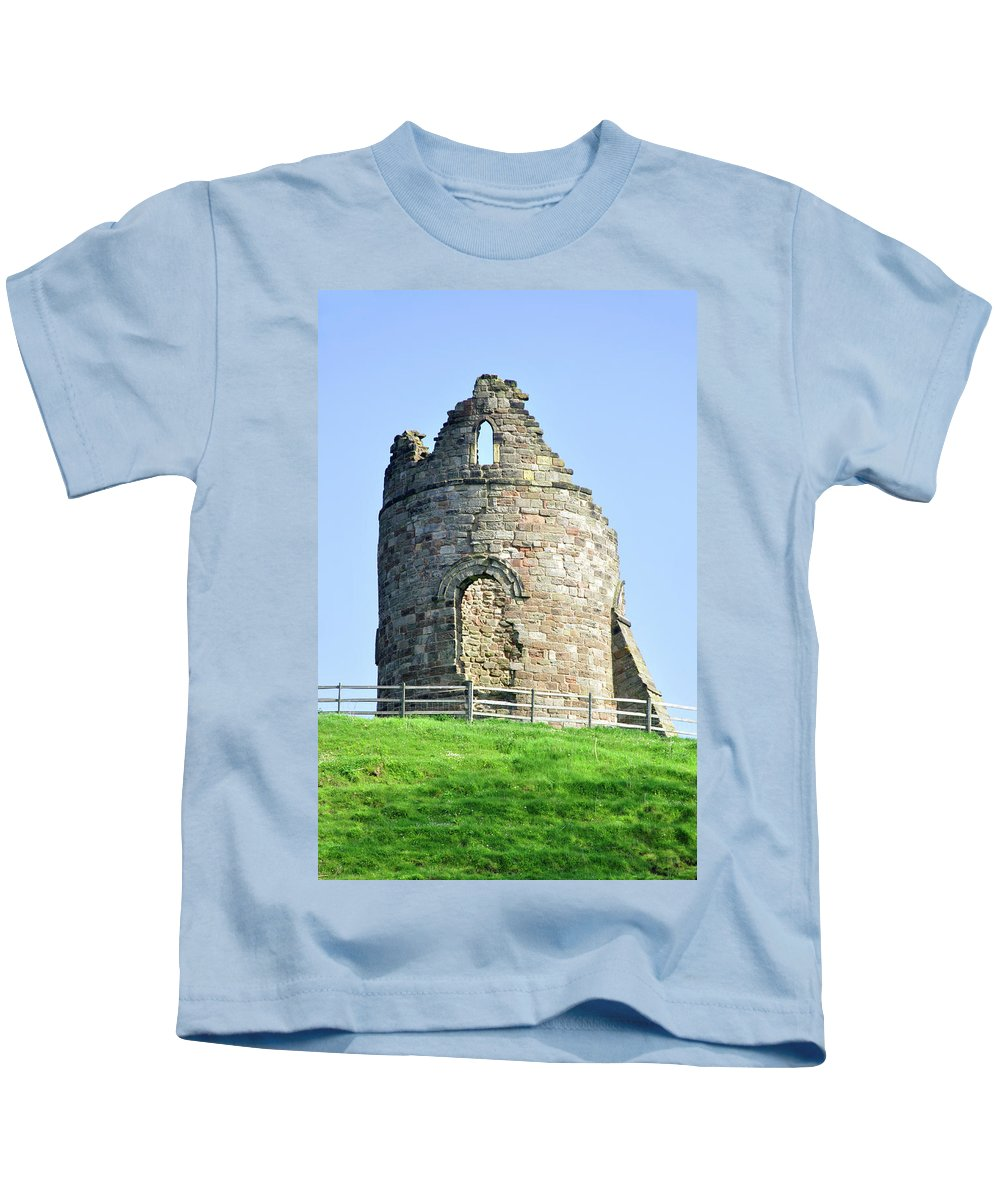 Grey Kids T-Shirt featuring the photograph Tutbury Castle Ruins by Rod Johnson