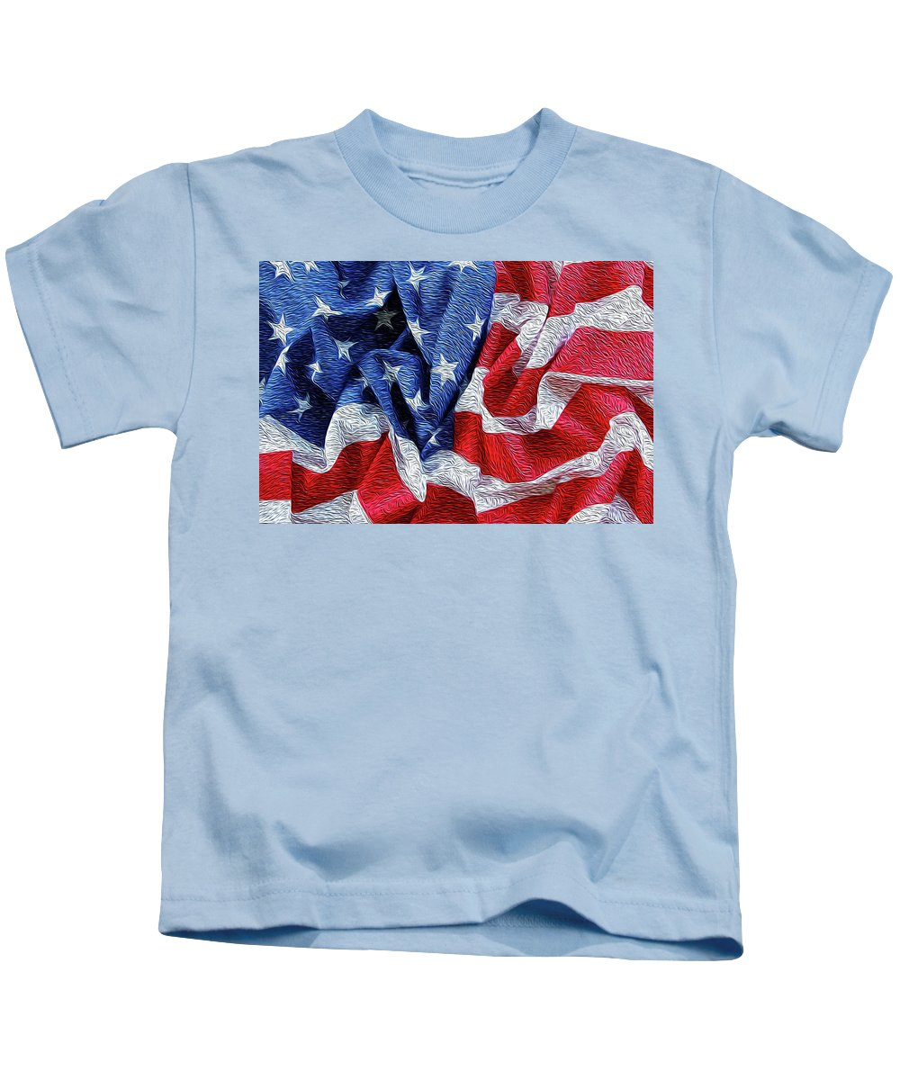American Flag Kids T-Shirt featuring the digital art American Flag 40 by Les Cunliffe