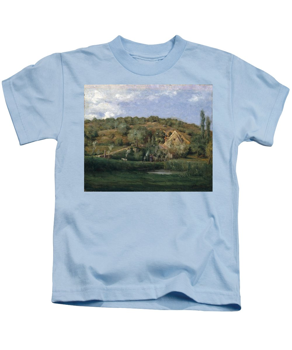 Julian Alden Weir (american Kids T-Shirt featuring the painting A French Homestead by Julian Alden