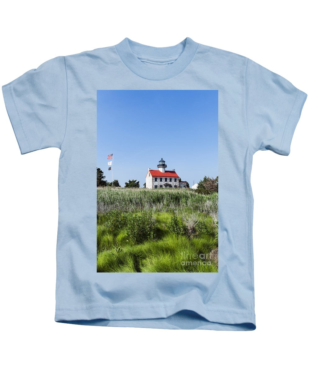 Deleware Bay Kids T-Shirt featuring the photograph East Point Lighthouse by John Greim