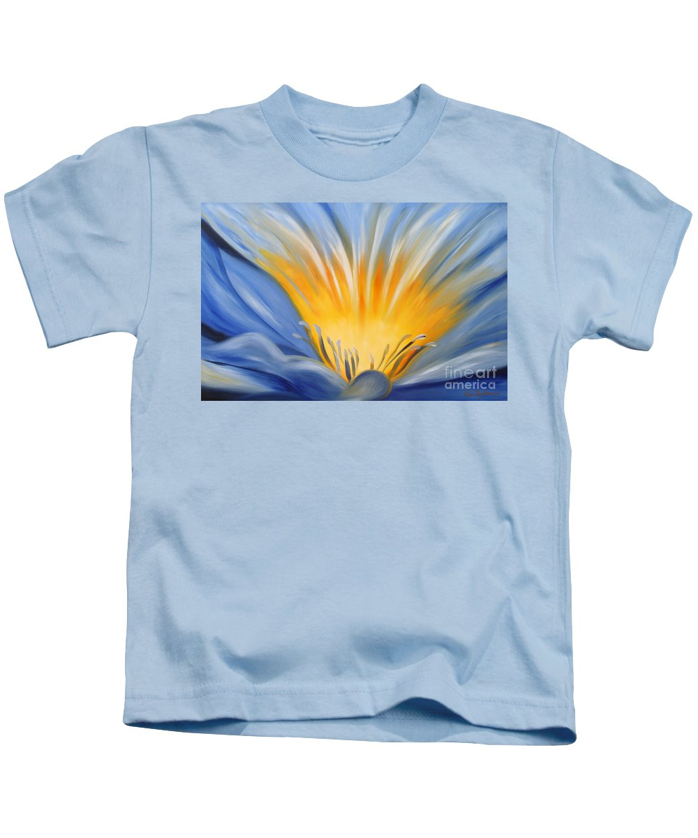 Flowers Kids T-Shirt featuring the painting From The Heart Of A Flower Blue by Gina De Gorna