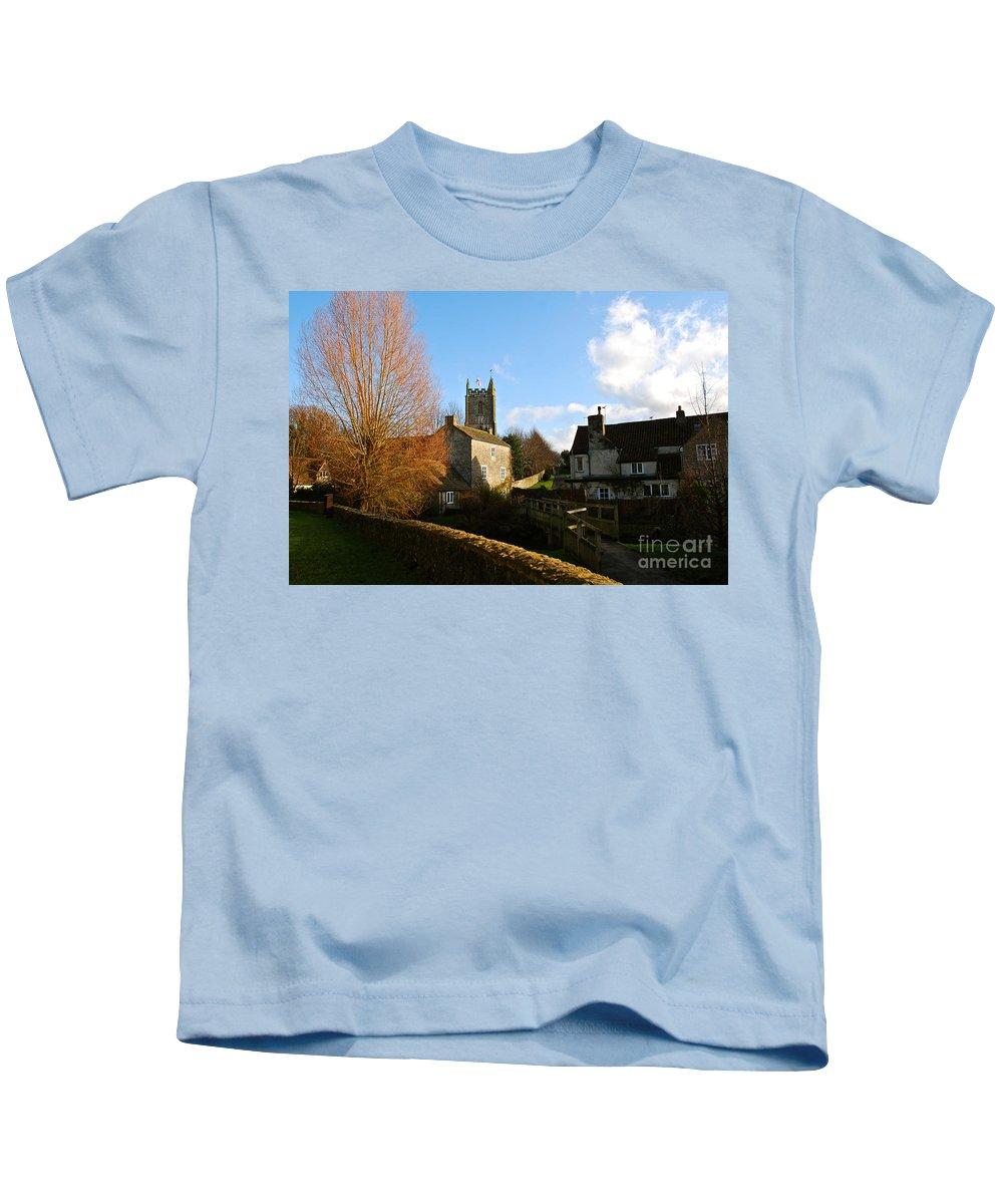Nunney Castle Kids T-Shirt featuring the photograph Nunney Church by Kayme Clark
