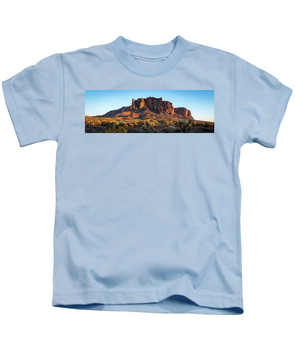 Superstition Kids T-Shirt featuring the photograph Superstition Mountains Arizona by Jon Manjeot