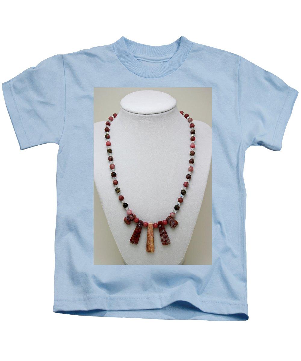 Handmade Kids T-Shirt featuring the jewelry 3541 Rhodonite And Jasper Necklace by Teresa Mucha