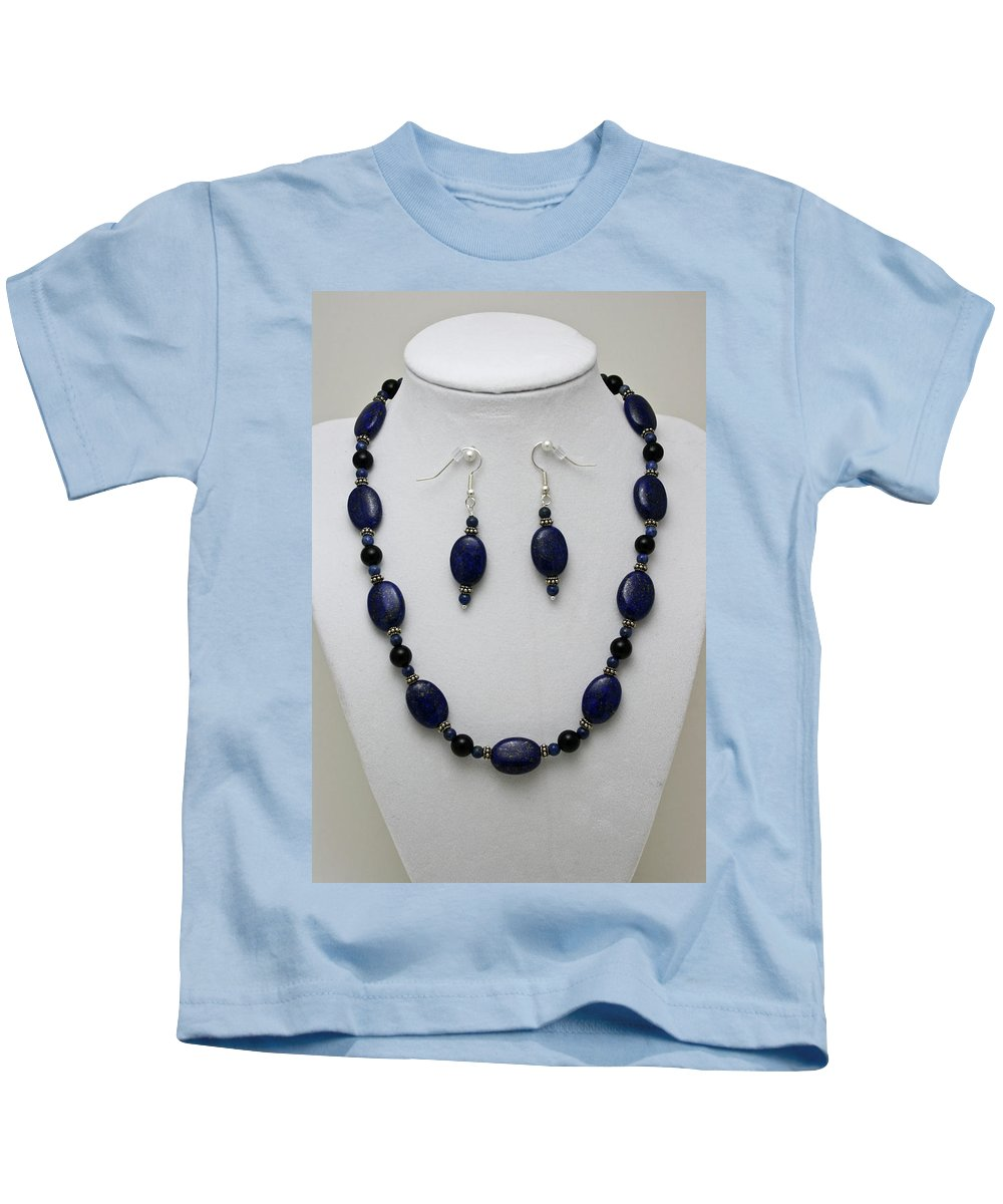 Handmade Kids T-Shirt featuring the jewelry 3555 Lapis Lazuli Necklace And Earring Set by Teresa Mucha