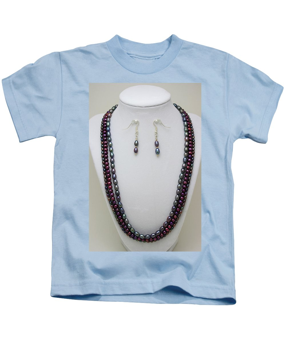 Handmade Kids T-Shirt featuring the jewelry 3562 Triple Strand Freshwater Pearl Necklace Set by Teresa Mucha