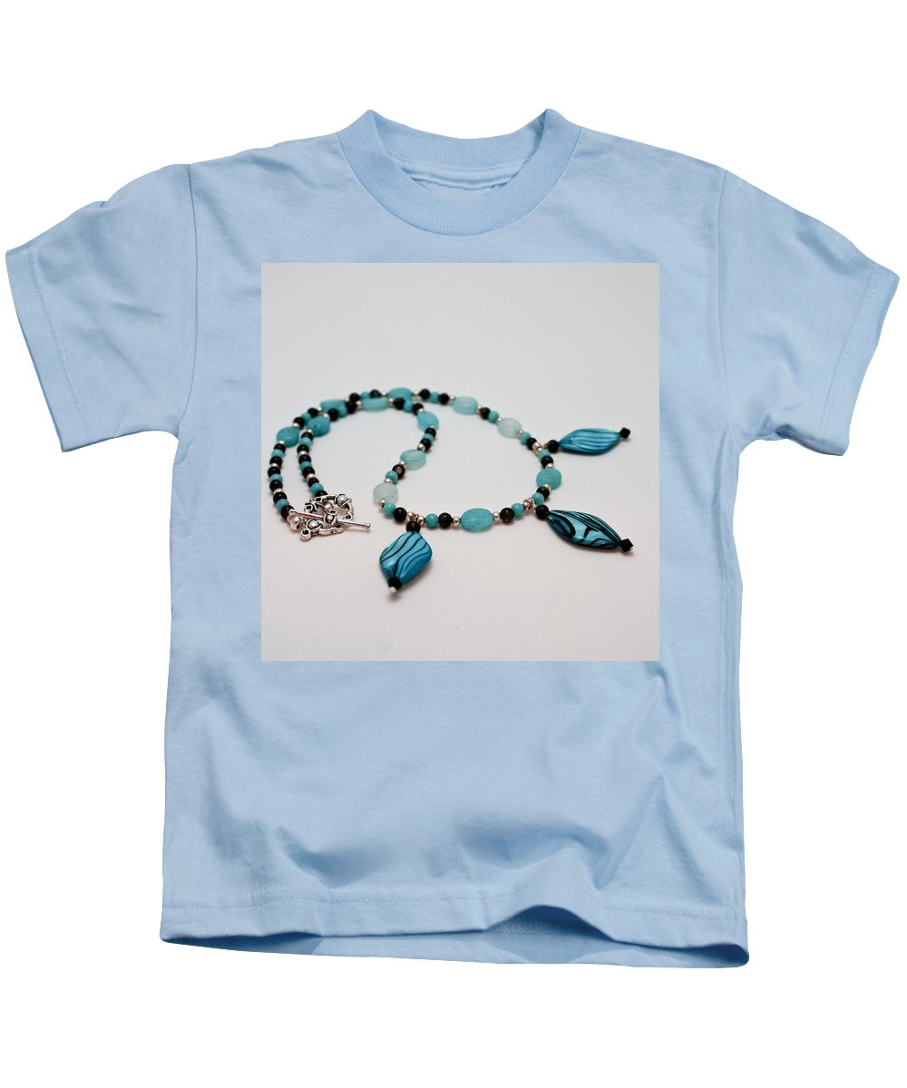 Handmade Kids T-Shirt featuring the jewelry 3564 Shell And Semi Precious Stone Necklace by Teresa Mucha