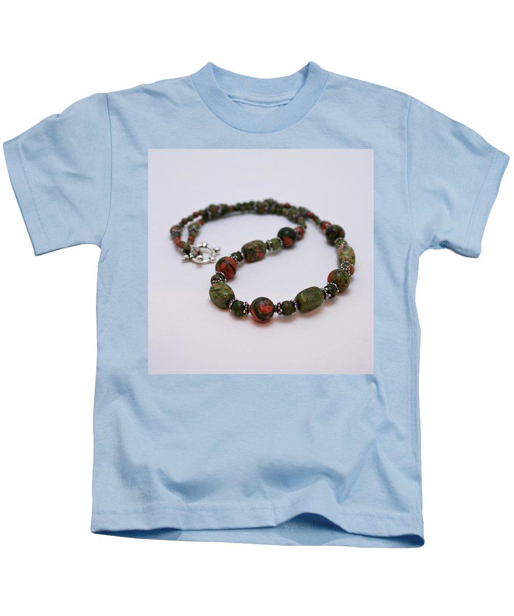 Handmade Kids T-Shirt featuring the jewelry 3579 Unakite Necklace by Teresa Mucha