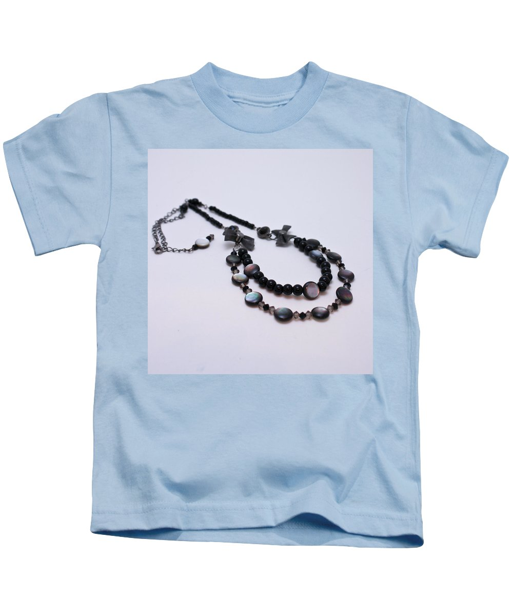 Necklace Kids T-Shirt featuring the jewelry 3587 Fun Gunmetal Necklace by Teresa Mucha