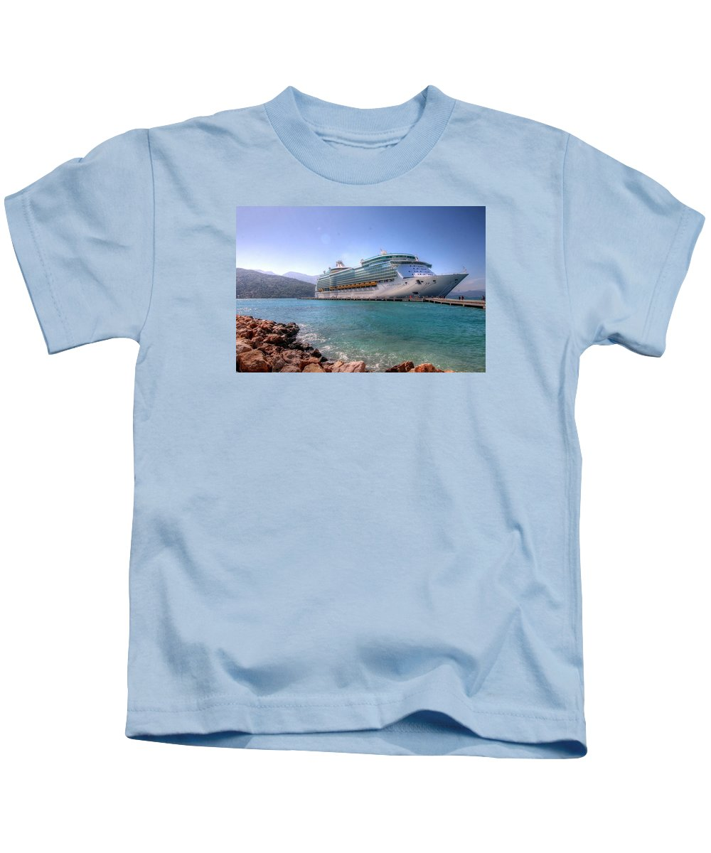 Haiti Rci Cruise Ship Kids T-Shirt featuring the photograph Haiti by Paul James Bannerman