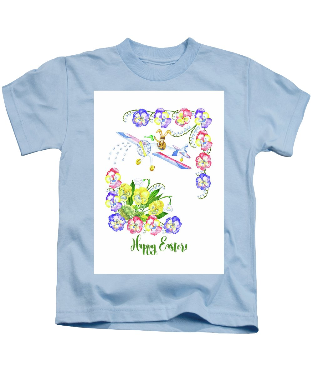 Lily Of The Valley Kids T-Shirt featuring the digital art Welcome Spring. Rabbit And Flowers by Natalia Piacheva
