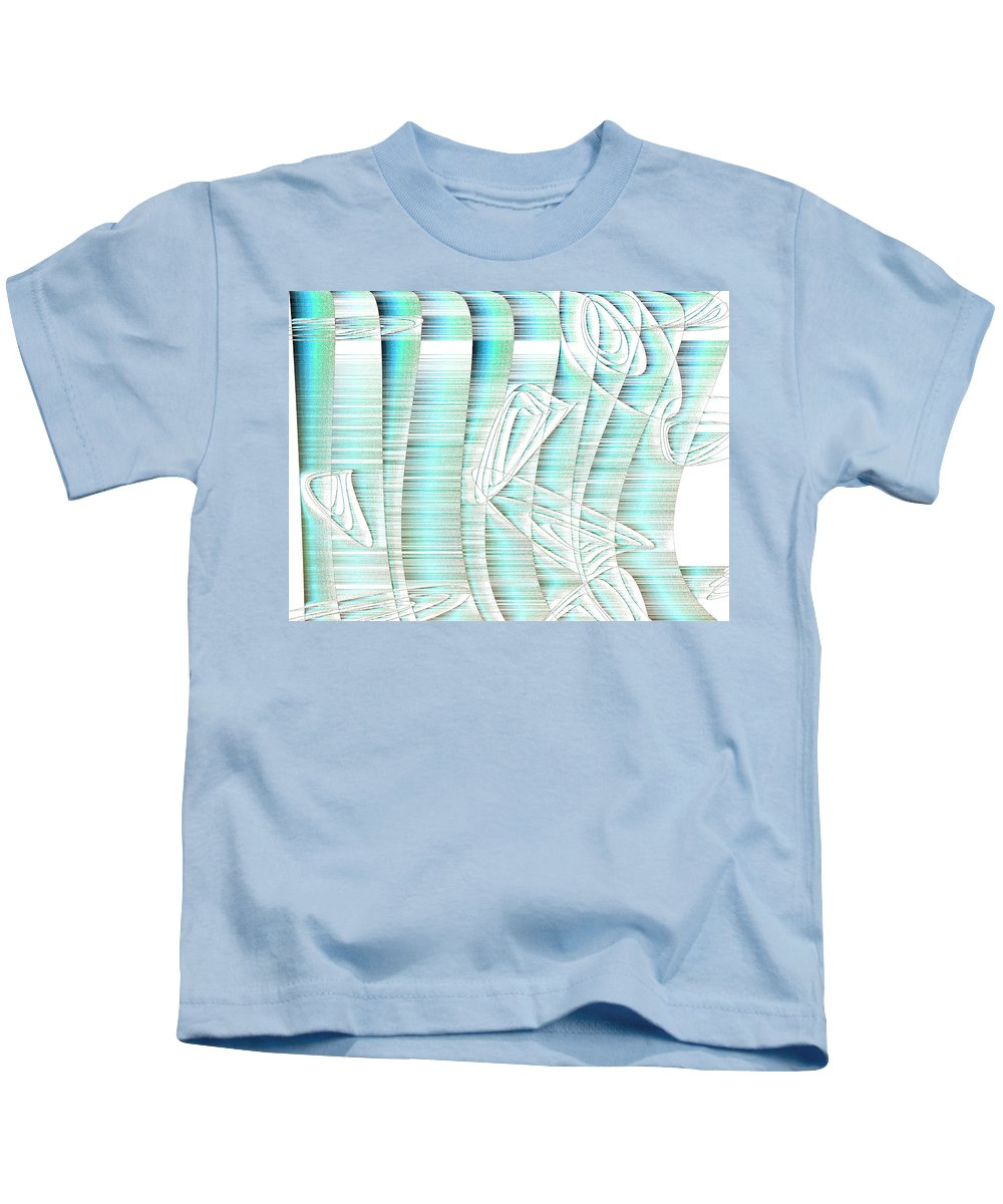 Rithmart Abstract Fade Fading Lines Organic Random Computer Digital Shapes Athens Changing Colors Directions Fading Lines Shapes Kids T-Shirt featuring the digital art 4x3.85-#rithmart by Gareth Lewis