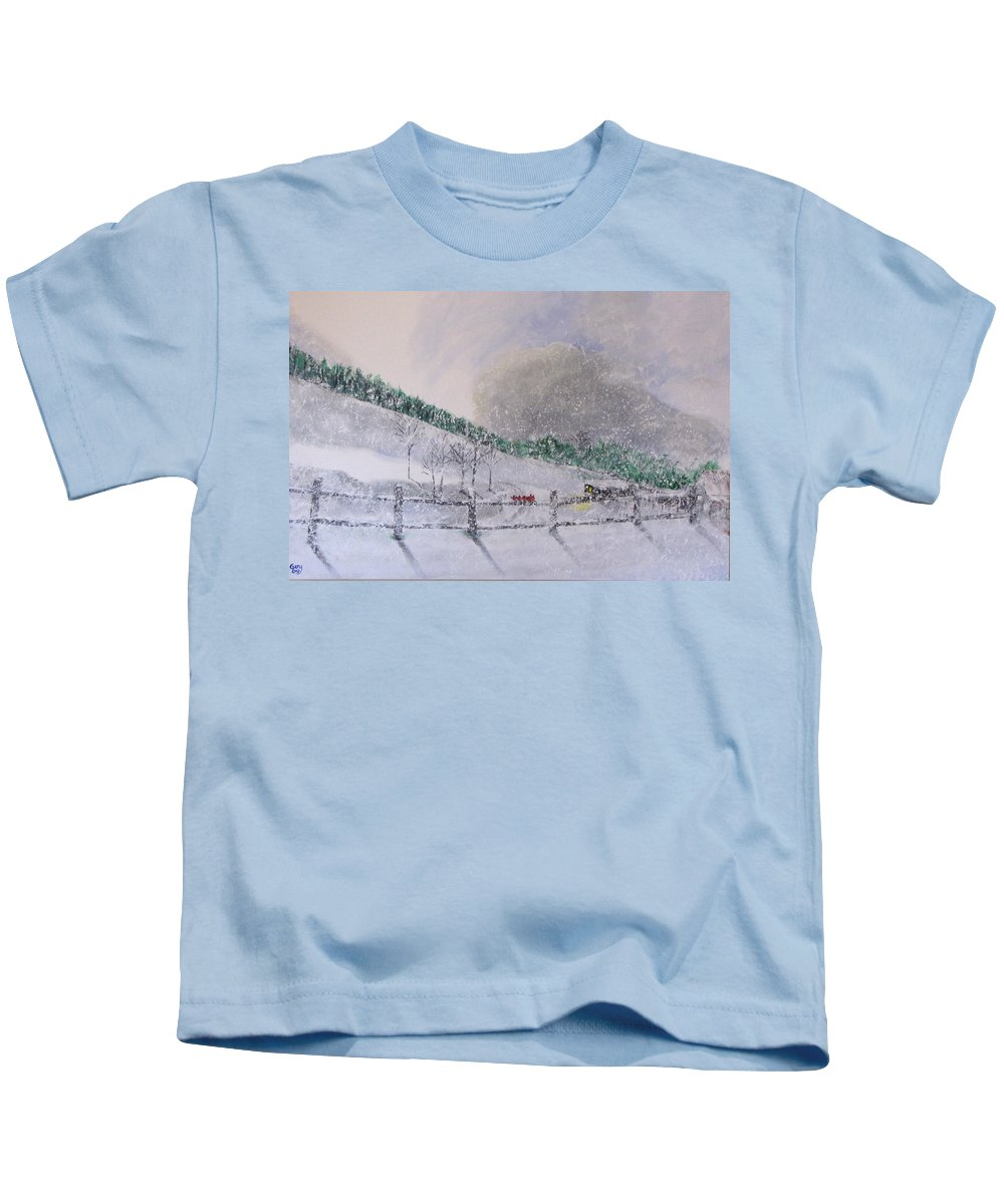 Snow Kids T-Shirt featuring the painting 5 Card Stud by Gary Smith