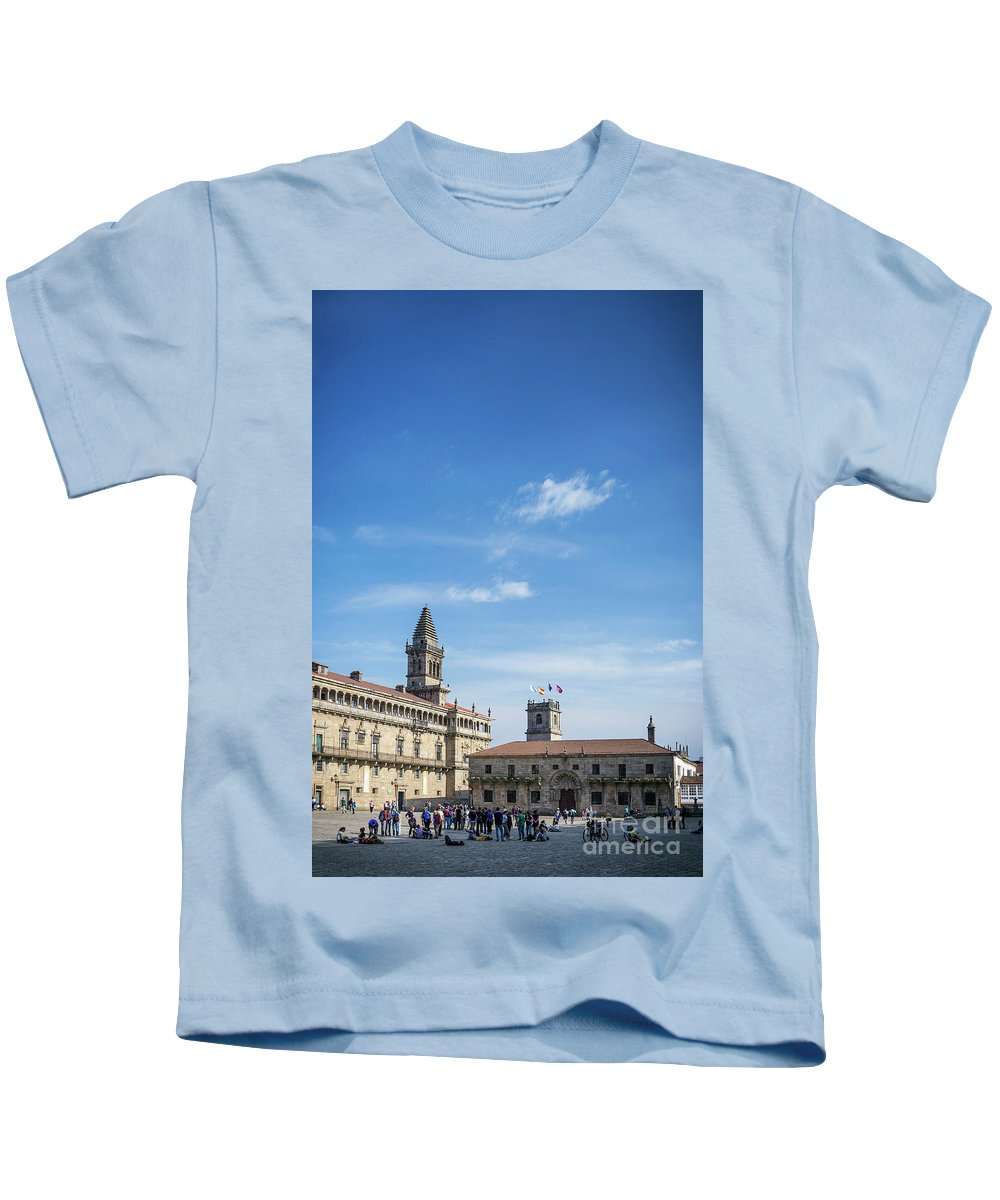 Obradoiro Kids T-Shirt featuring the photograph old town Obradoiro Square near santiago de compostela cathedral by Jacek Malipan