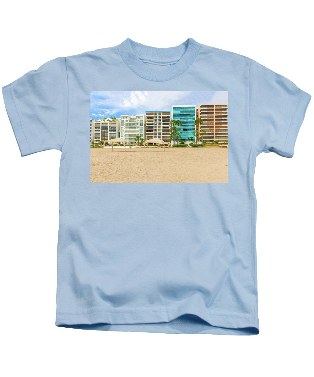 Beach Kids T-Shirt featuring the photograph Playa De Chipipe In Salinas, Ecuador by Marek Poplawski