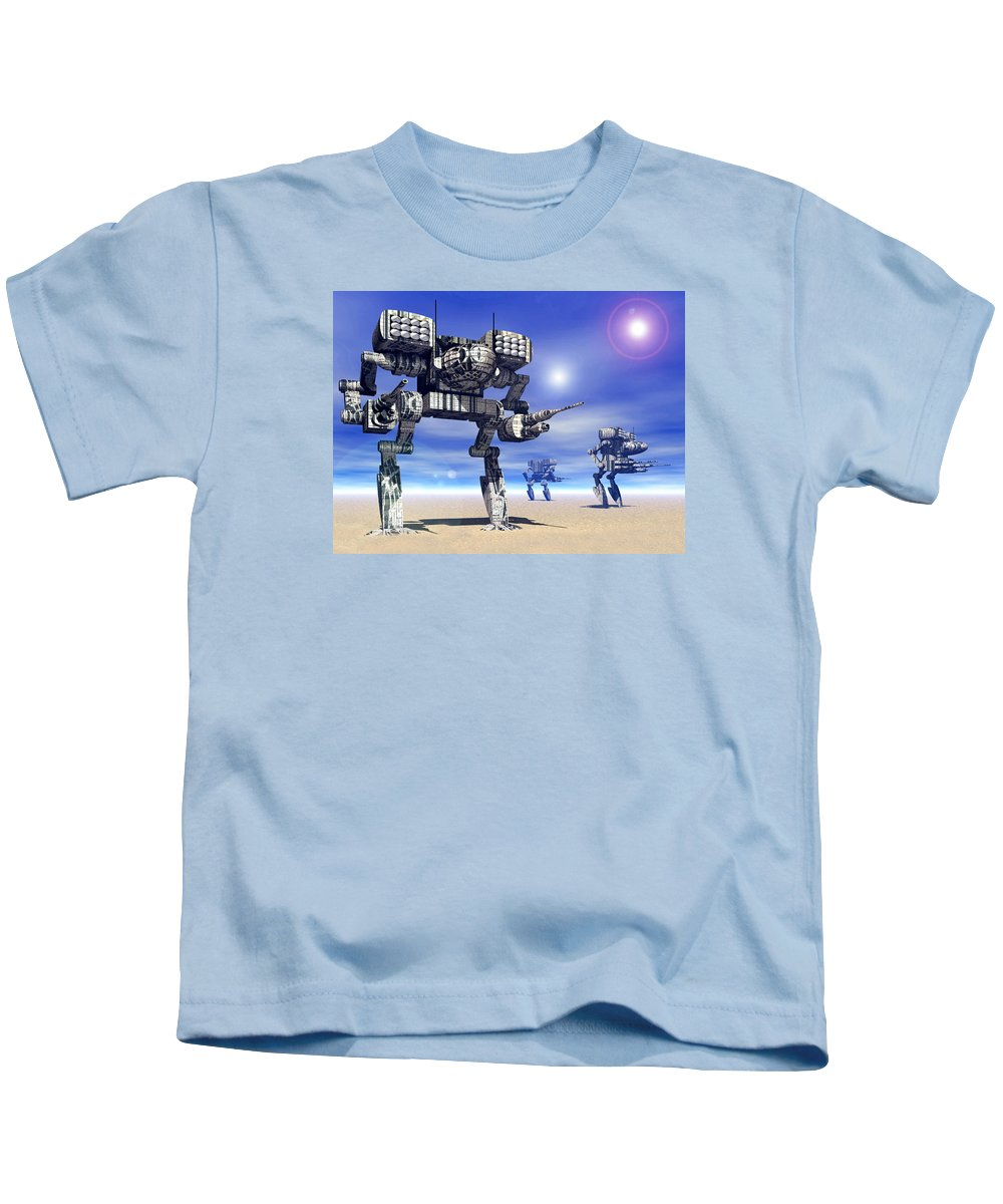 Science Fiction Kids T-Shirt featuring the digital art 501st Mech Trinary by Curtiss Shaffer