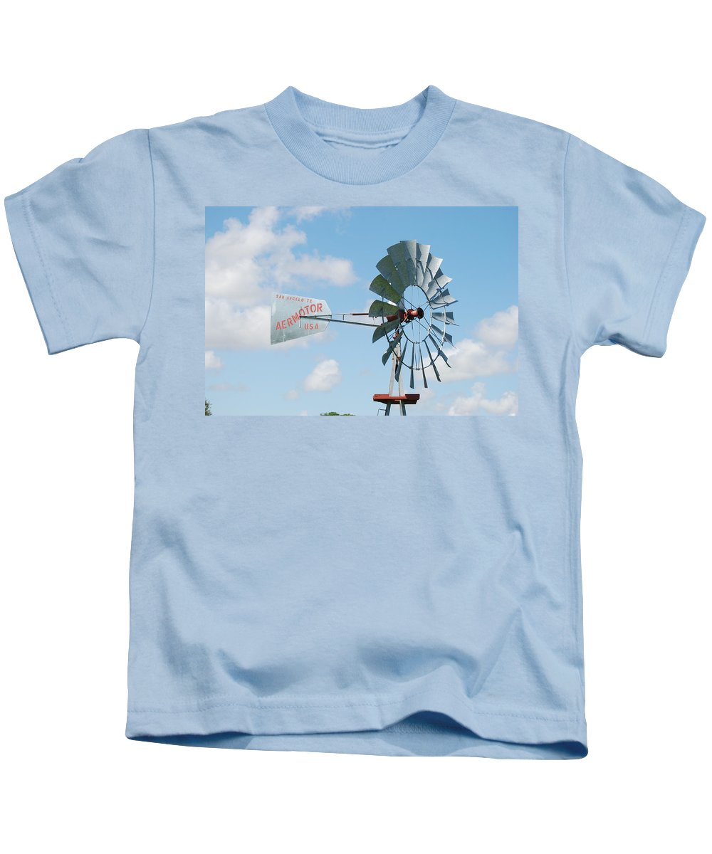 Blue Kids T-Shirt featuring the photograph Aermotor Windmill by Rob Hans