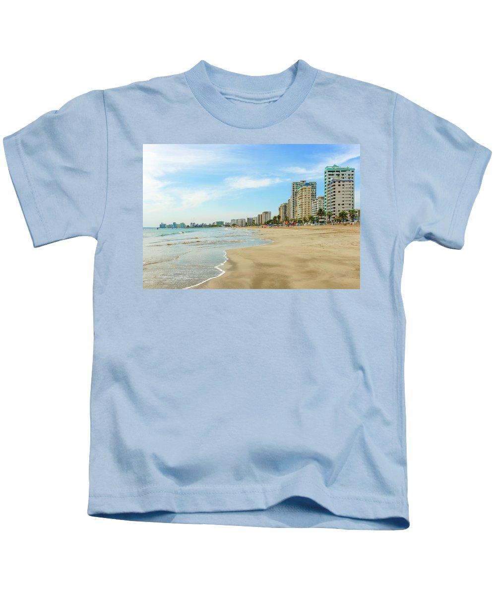 Beach Kids T-Shirt featuring the photograph Playa De Chipipe In Salinas, Ecuador by Marek Poplawski