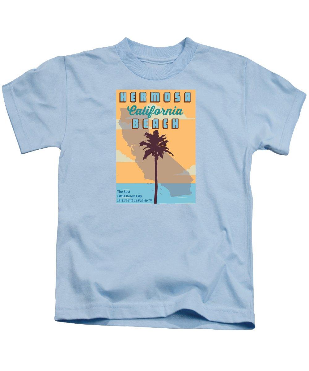 Hermosa Beach Kids T-Shirt featuring the digital art Hermosa Beach. by American Roadside
