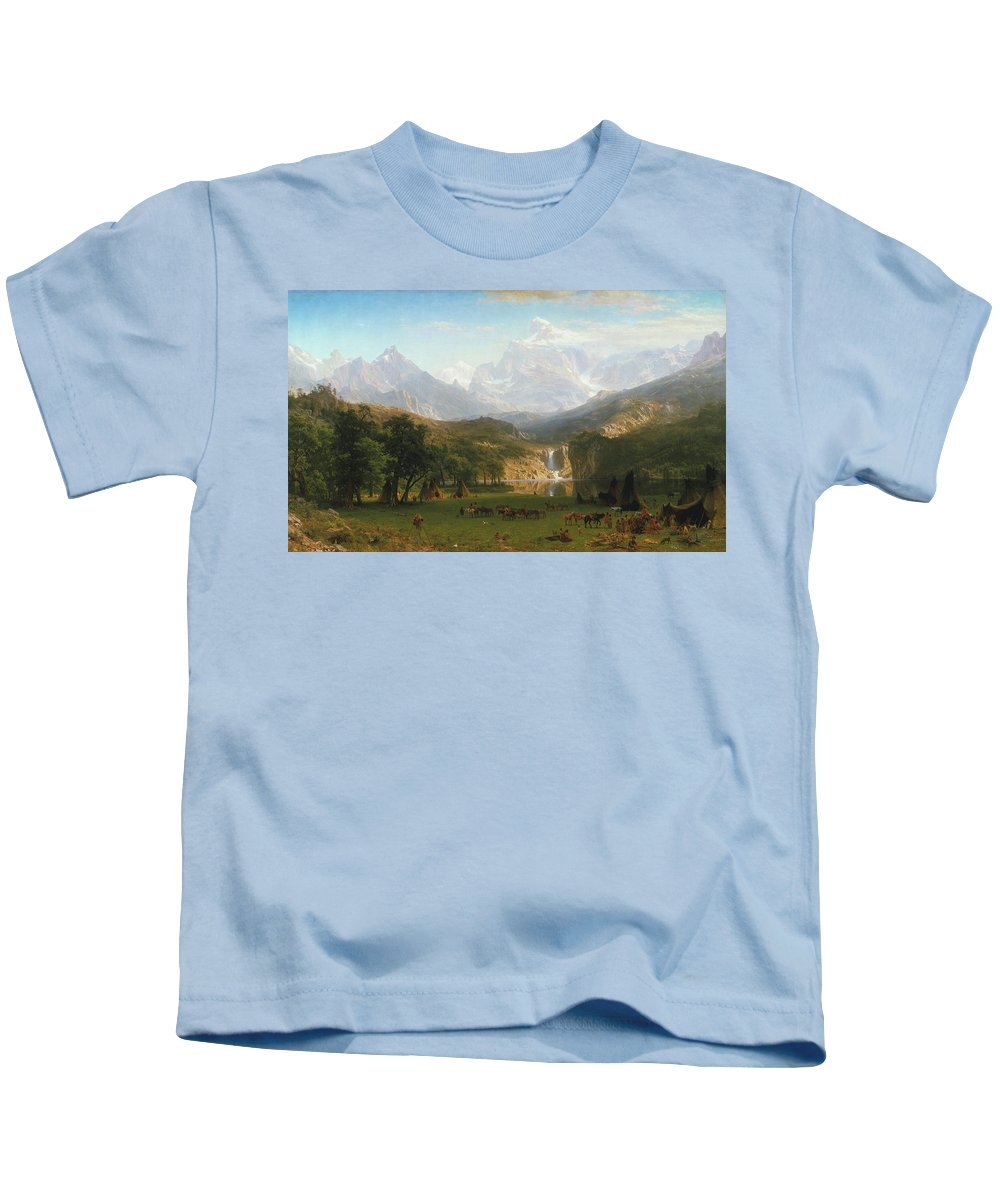 The Rocky Mountains Kids T-Shirt featuring the painting The Rocky Mountains by Albert Bierstadt