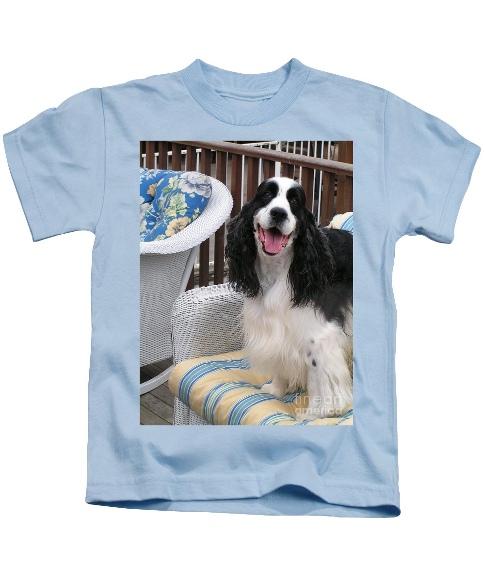 #940 D1036 Farmer Browns Springer Spaniel Happy For You Have A Happy Day Kids T-Shirt featuring the photograph #940 D1036 Farmer Browns Springer Spaniel Happy For You Have A Happy Day by Robin Lee Mccarthy Photography