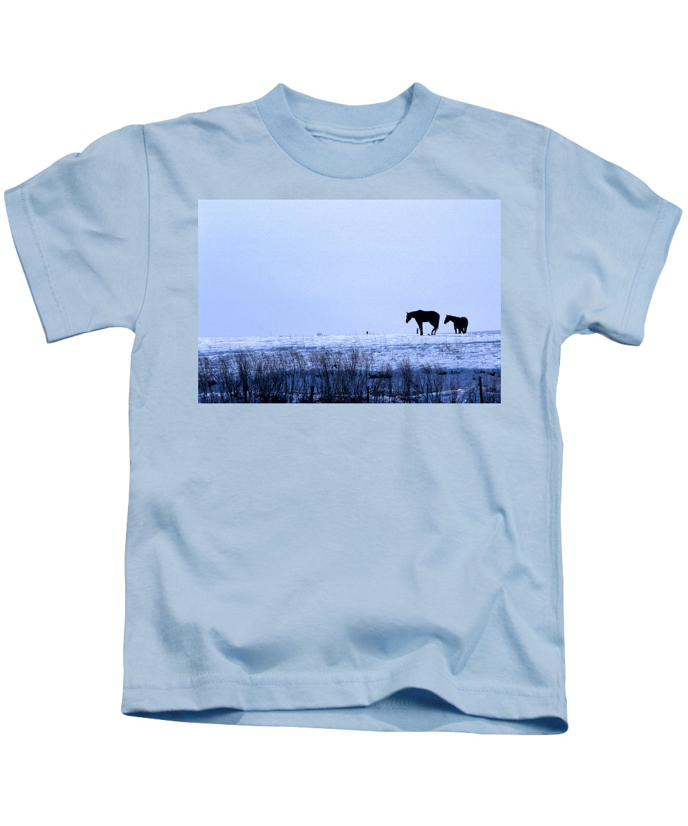 Horses Kids T-Shirt featuring the photograph A Cold Winter by Jerry McElroy