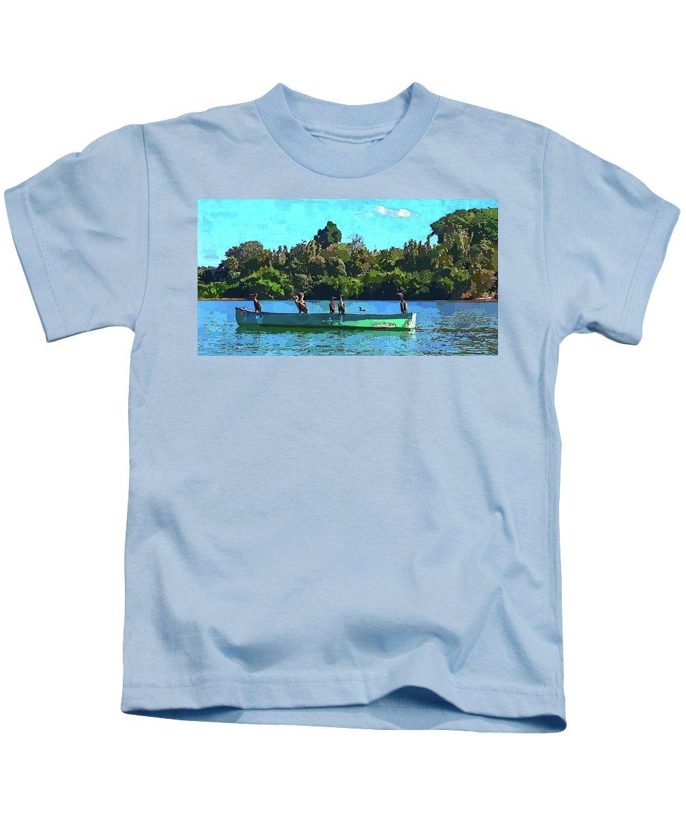 Susan Molnar Kids T-Shirt featuring the photograph A Cormorant Cruise 2 by Susan Molnar