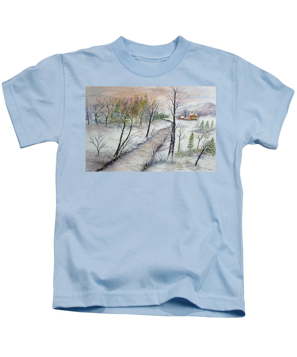 Snow; Creek; Trees; Old House; Sunrise;mountains Kids T-Shirt featuring the painting A Country Winter by Ben Kiger