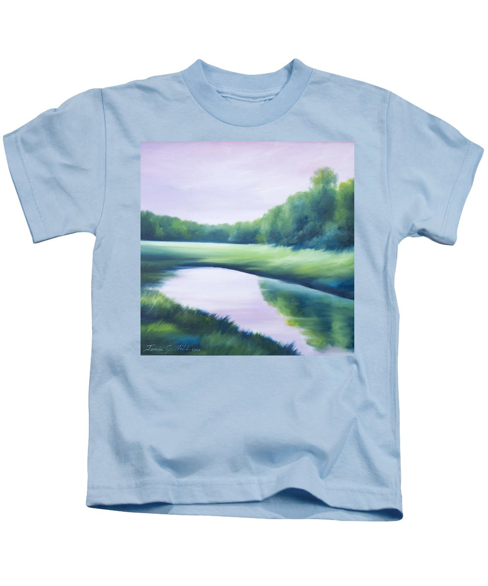Nature; Lake; Sunset; Sunrise; Serene; Forest; Trees; Water; Ripples; Clearing; Lagoon; James Christopher Hill; Jameshillgallery.com; Foliage; Sky; Realism; Oils; Green; Tree; Blue; Pink; Pond; Lake Kids T-Shirt featuring the painting A Day In The Life 1 by James Christopher Hill