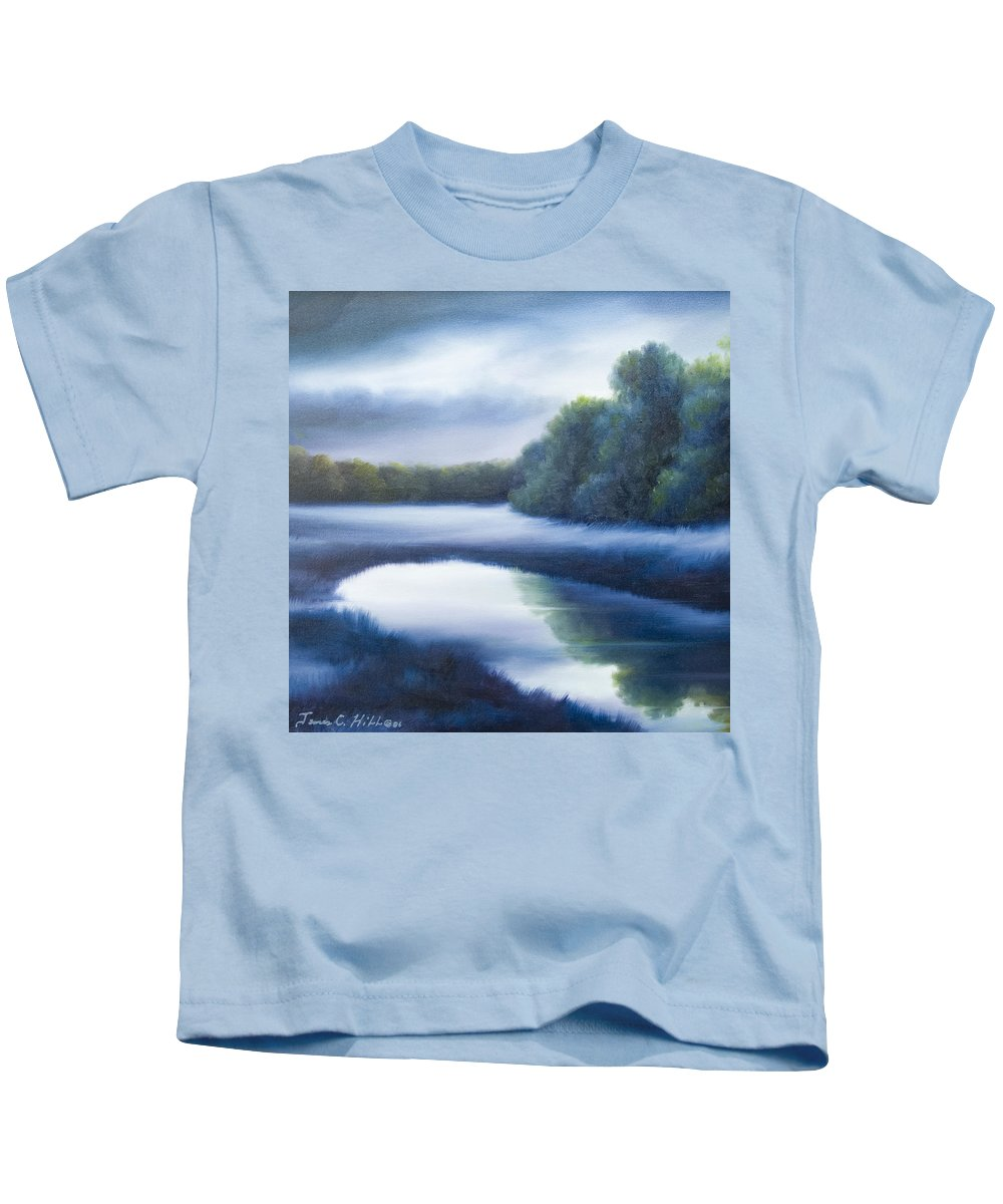 Nature; Lake; Sunset; Sunrise; Serene; Forest; Trees; Water; Ripples; Clearing; Lagoon; James Christopher Hill; Jameshillgallery.com; Foliage; Sky; Realism; Oils; Green; Tree; Blue; Pink; Pond; Lake Kids T-Shirt featuring the painting A Day In The Life 4 by James Christopher Hill