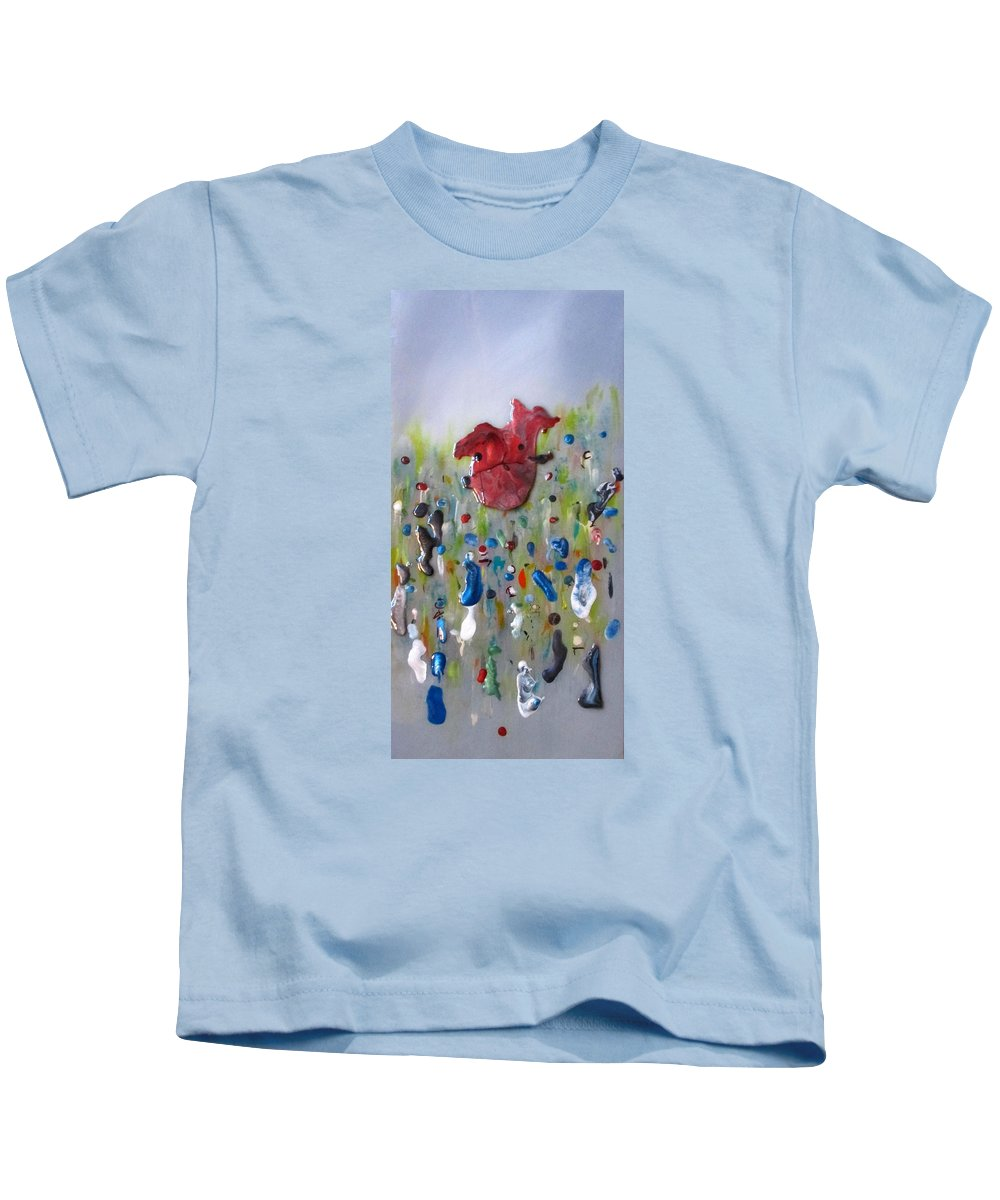 Abstract Kids T-Shirt featuring the painting A Face In The Crowd by Mary Kay Holladay