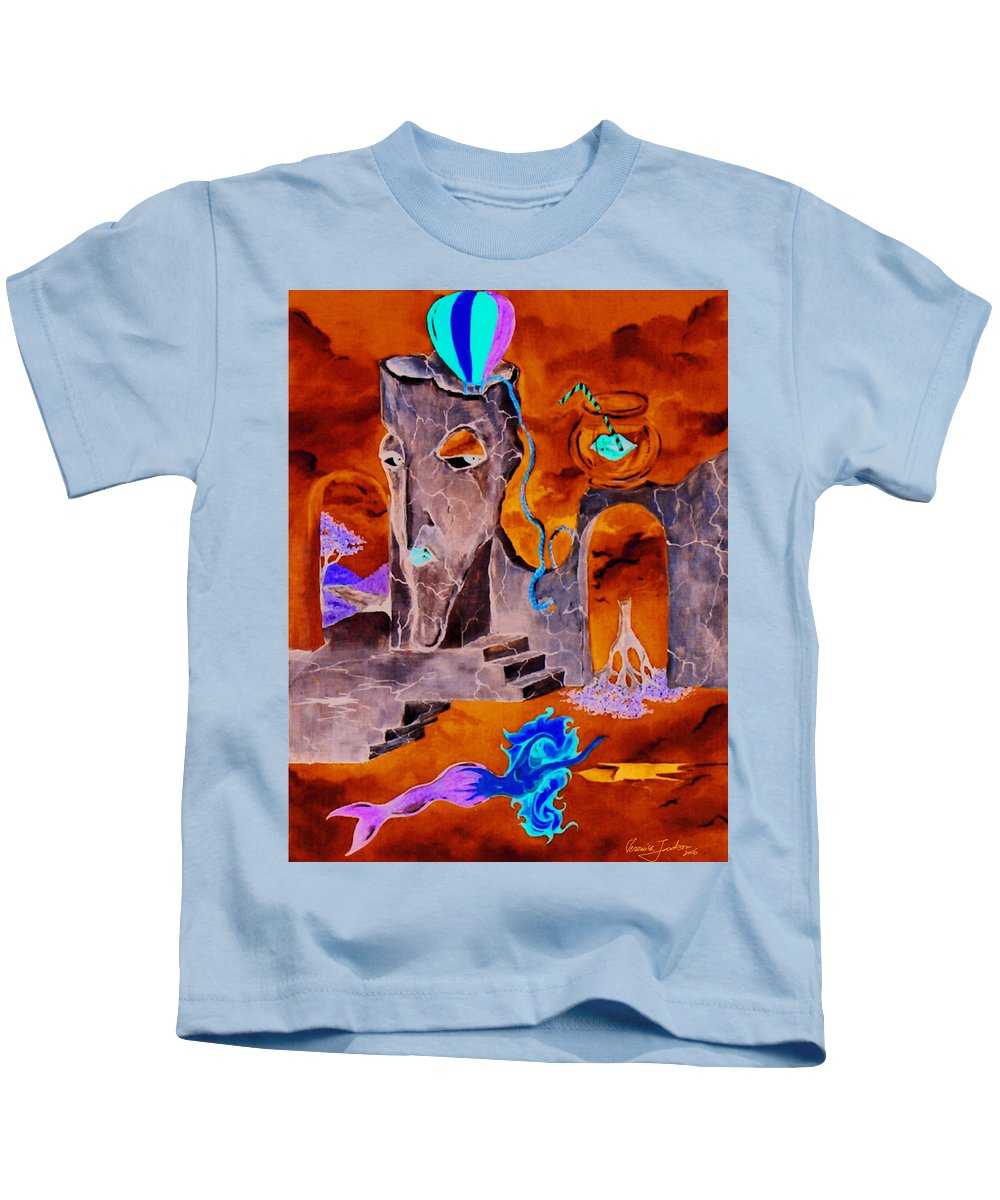 Surreal Sky Mermaids Trees Stairs Heaven Kids T-Shirt featuring the painting A Few Seconds In My Head by Veronica Jackson