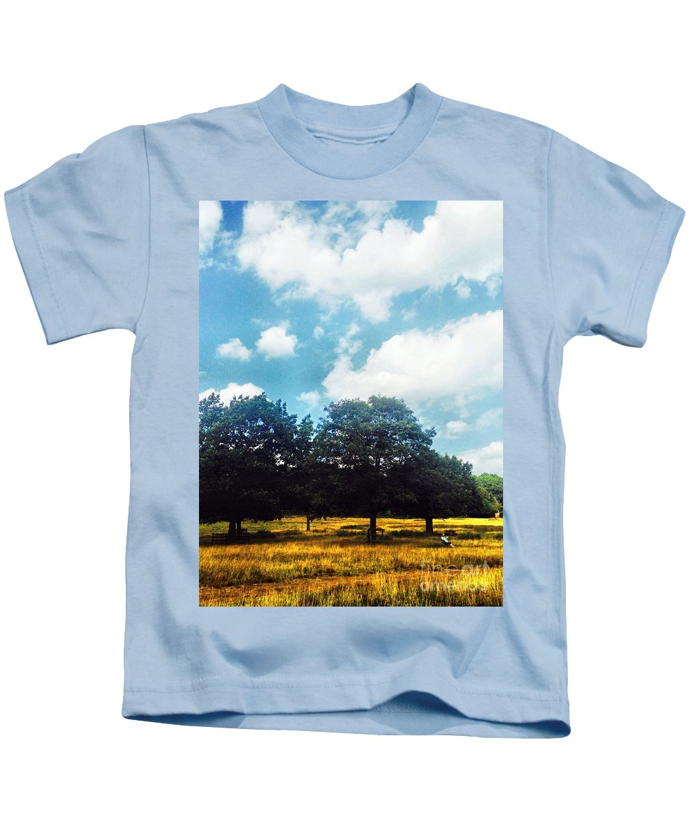Man Kids T-Shirt featuring the photograph A Good Book At The Park by Melissa Stephenson