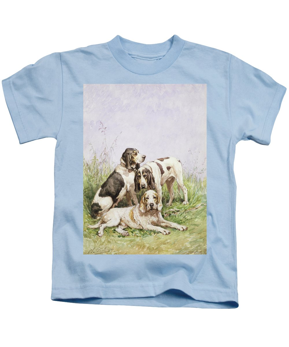 A Group Of French Hounds By Charles Oliver De Penne (1831-97) Kids T-Shirt featuring the painting A Group Of French Hounds by Charles Oliver de Penne