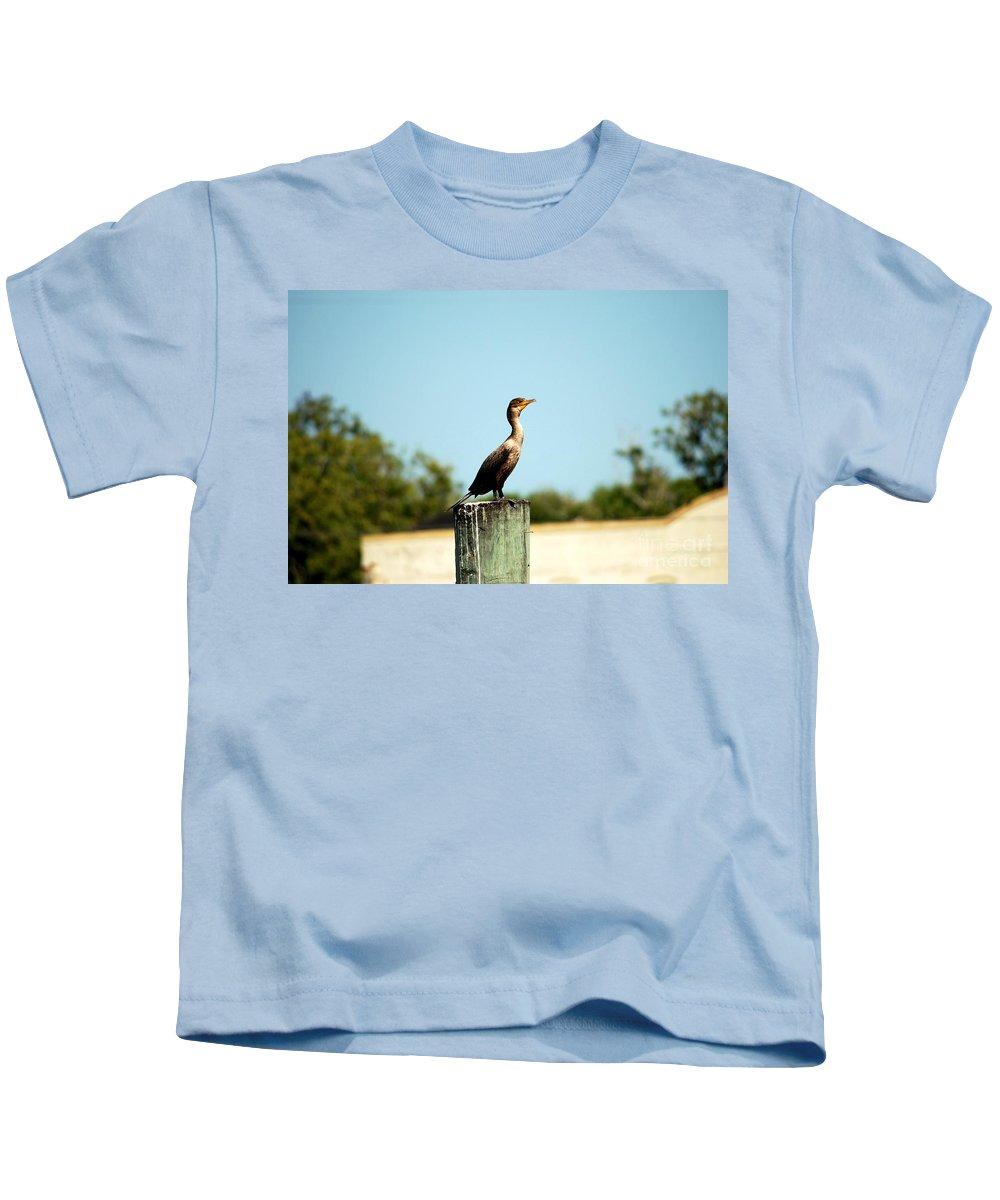 Bird Kids T-Shirt featuring the photograph A Little Bird by Katherine W Morse