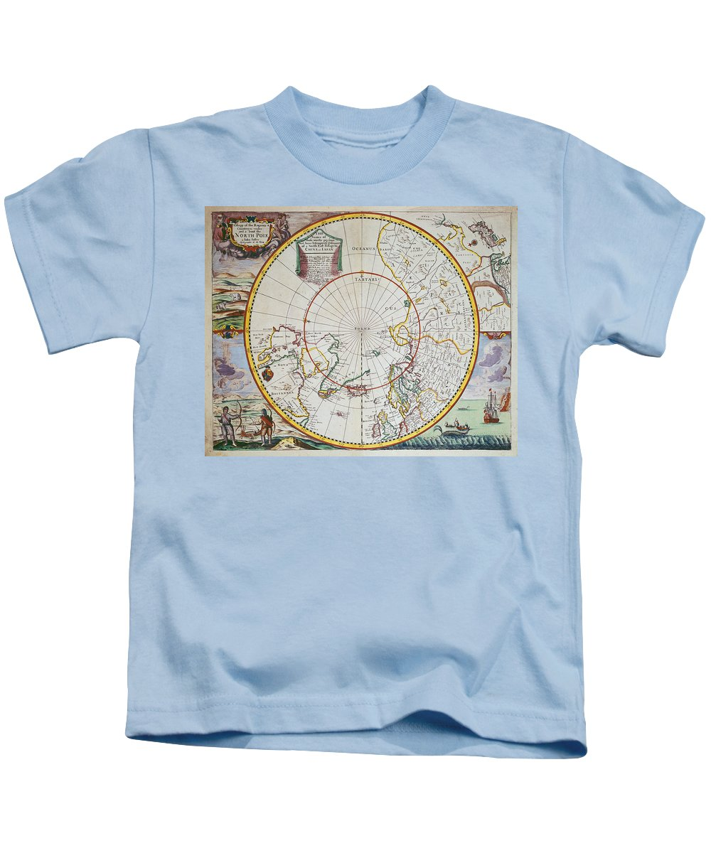 Map Kids T-Shirt featuring the drawing A Map Of The North Pole by John Seller