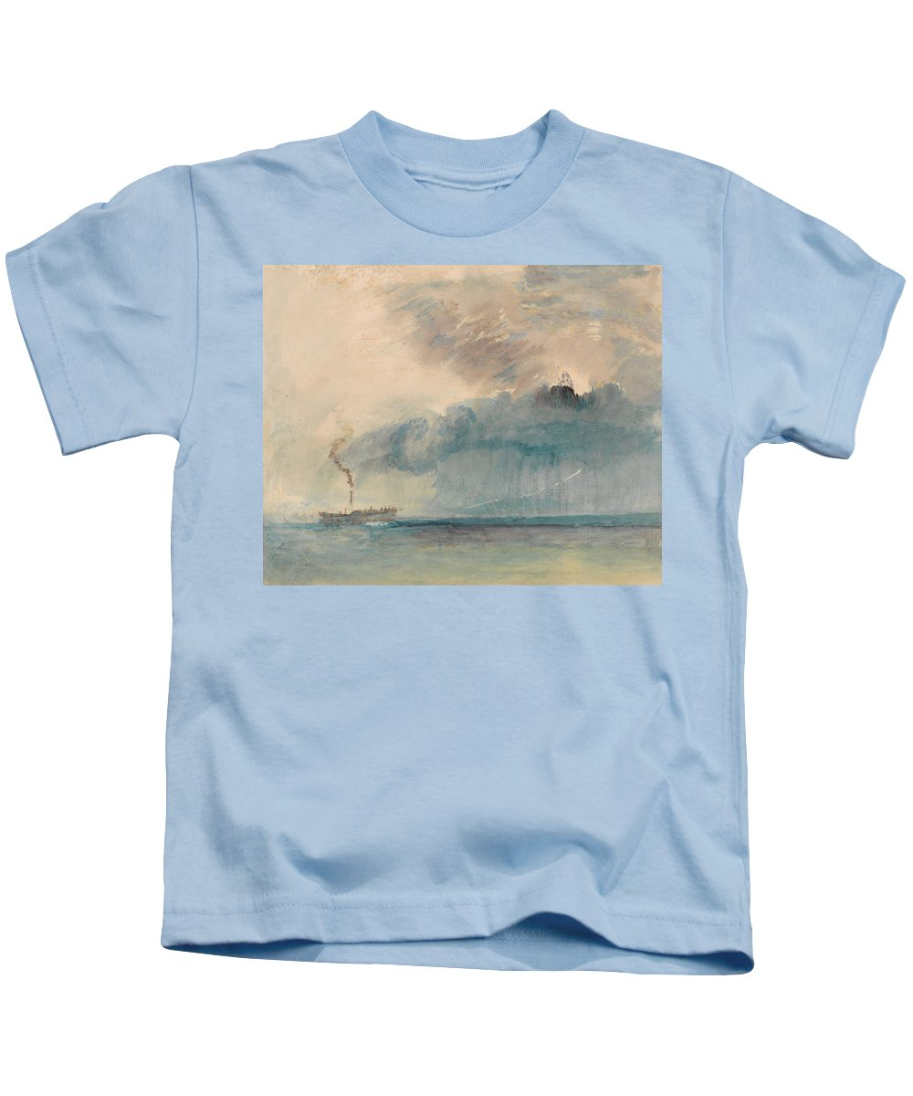 A Paddle-steamer In A Storm Kids T-Shirt featuring the painting A Paddle-steamer In A Storm by Grypons Art