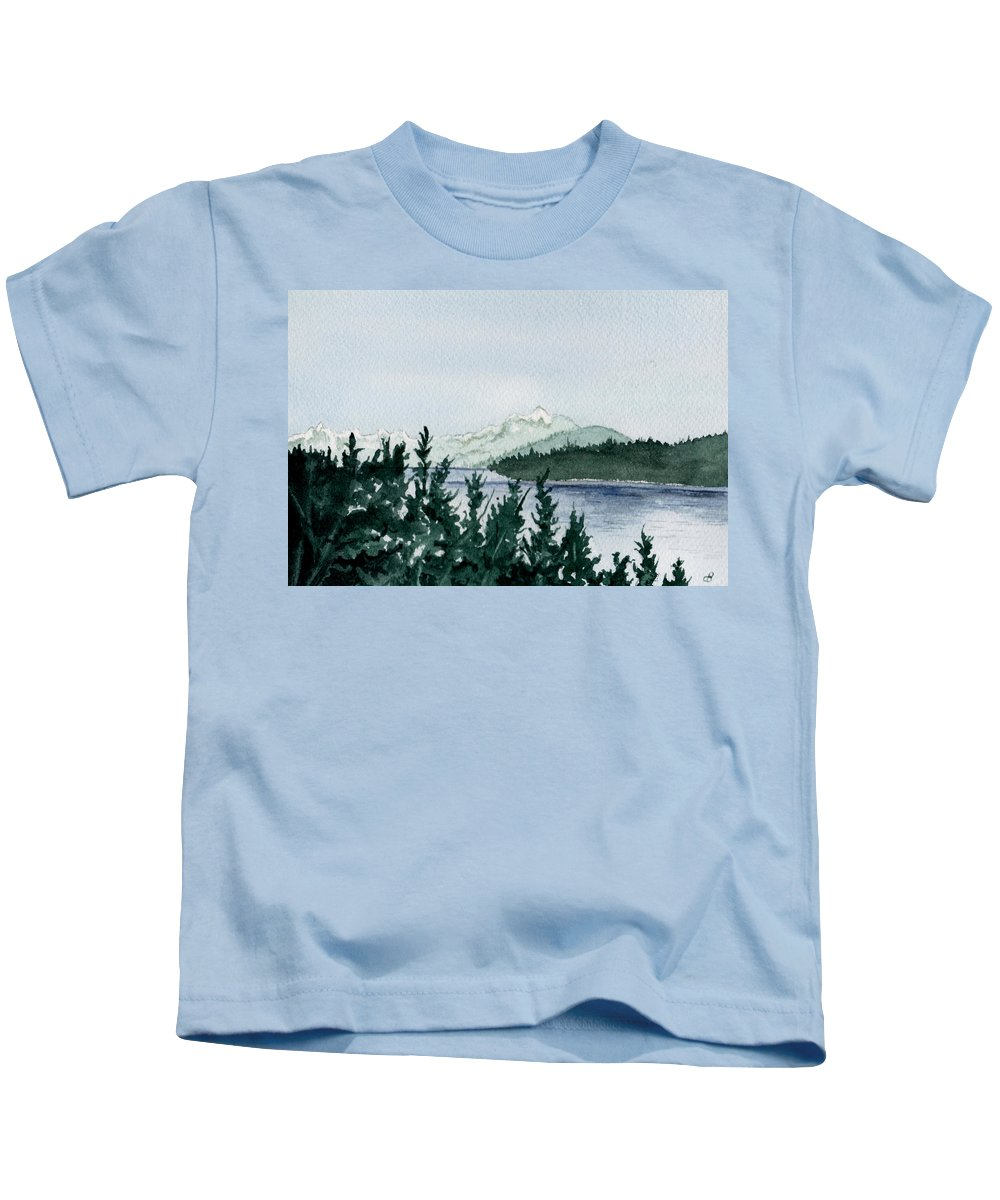 Landscape Kids T-Shirt featuring the painting A Peaceful Place by Brenda Owen