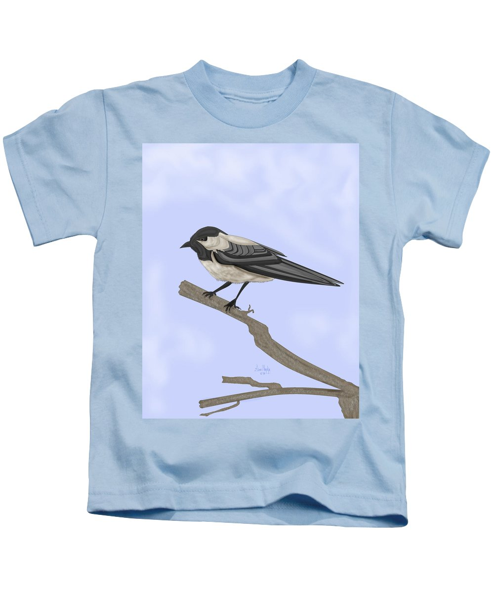 Bird Kids T-Shirt featuring the painting A Small Guest by Anne Norskog