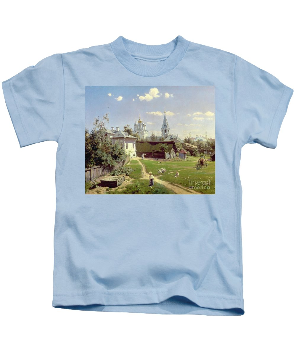 Small Kids T-Shirt featuring the painting A Small Yard In Moscow by Vasilij Dmitrievich Polenov