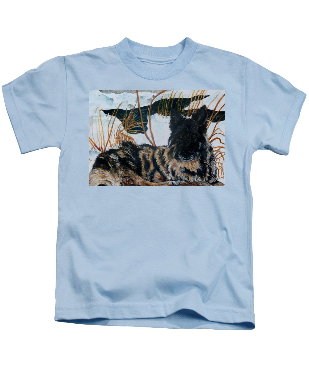 Shepherd Kids T-Shirt featuring the painting A Special Place by Lil Taylor