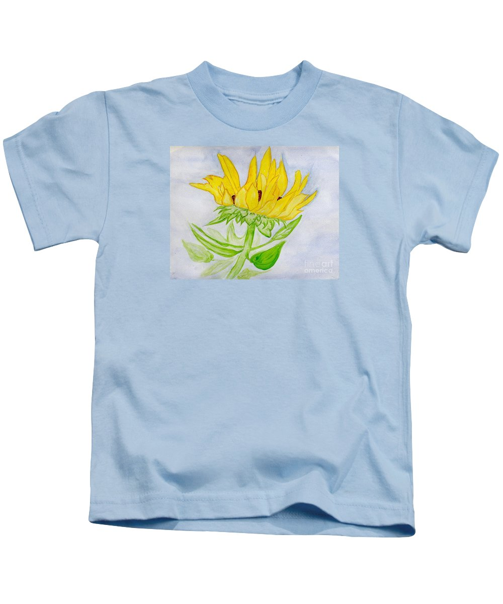 Sunflower Kids T-Shirt featuring the painting A Sunflower Blessing by Anne Gitto