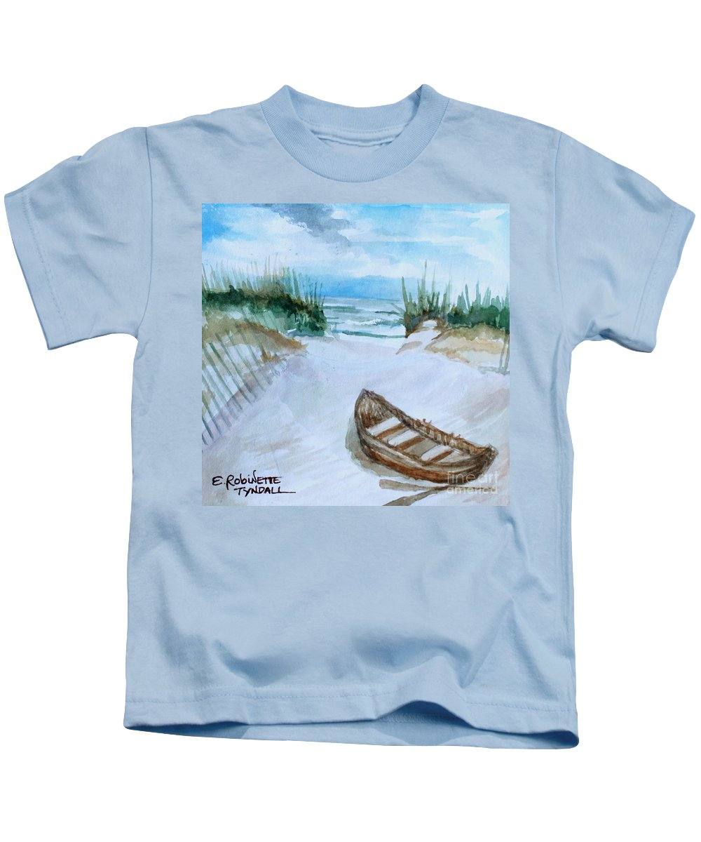 Landscape Kids T-Shirt featuring the painting A Trip To The Beach by Elizabeth Robinette Tyndall