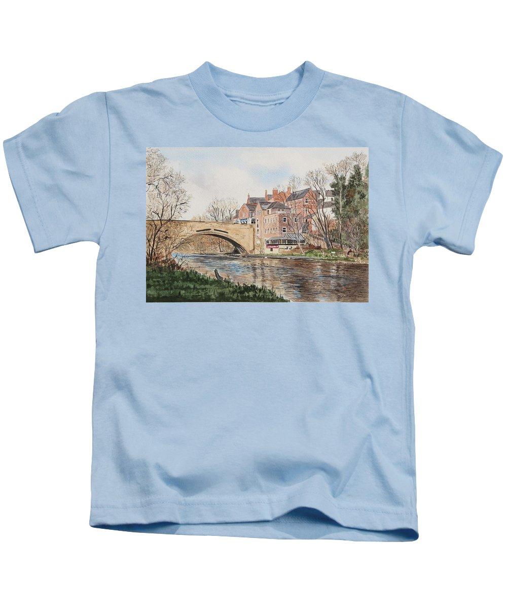 Bridge Kids T-Shirt featuring the painting A View Of Framwelgate Bridge by George Levitt
