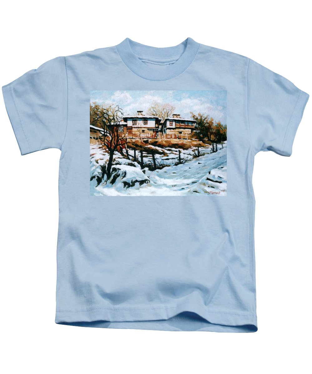 Landscape Kids T-Shirt featuring the painting A Village In Winter by Iliyan Bozhanov
