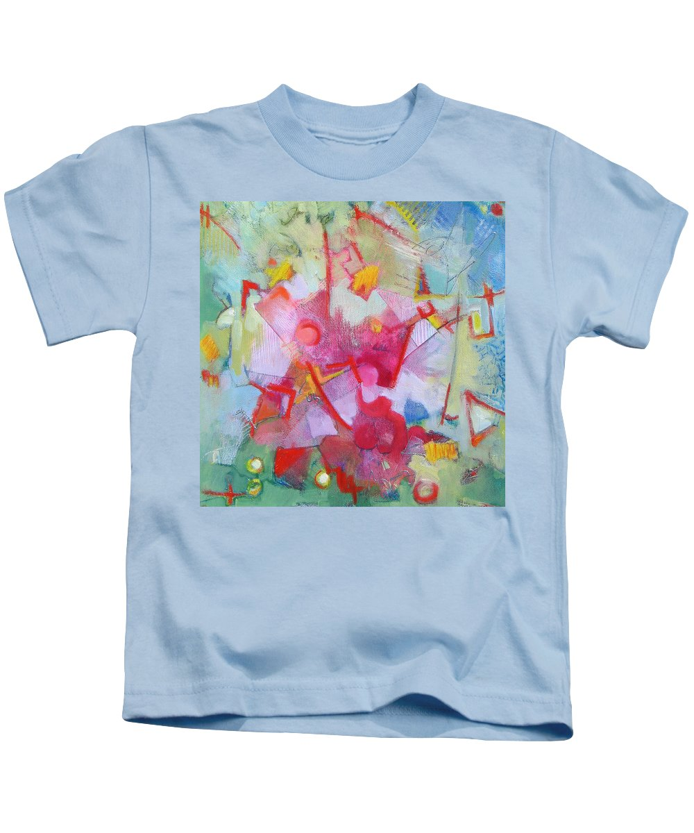 Abstract Kids T-Shirt featuring the painting Abstract 2 With Inscribed Red by Susanne Clark