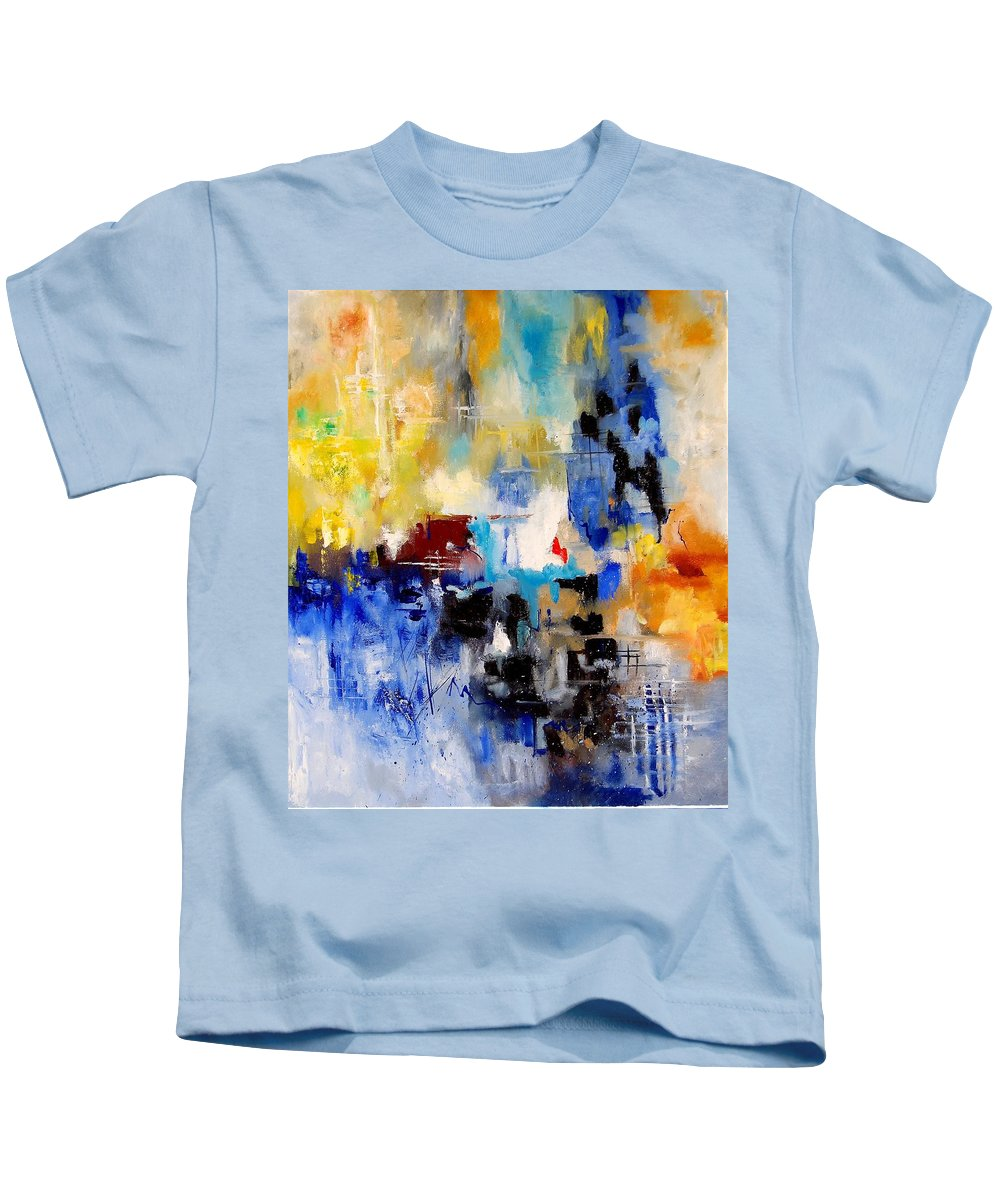Abstract Kids T-Shirt featuring the painting Abstract 905003 by Pol Ledent