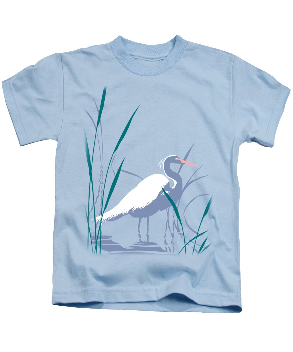 Abstract Kids T-Shirt featuring the painting abstract Egret graphic pop art nouveau 1980s stylized retro tropical florida bird print blue gray by Walt Curlee